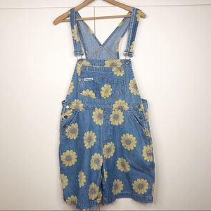 90s sunflower overall shorts London London denim